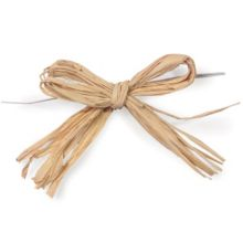 "Nashville Wraps 24102 Pre-Tied Natural 4"" Raffia Bow - 12 / PK"