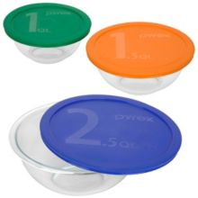 Pyrex 1071025 3-Piece Mixing Bowl Set w/ Colored Lids