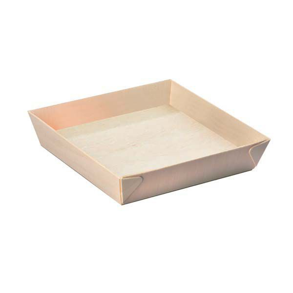 "PackNWood 210SAMBQ170 Samurai 6.6"" Square Wooden Tray - 100 / CS"