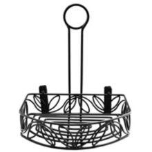 American Metalcraft CRL86 Blk Wrought Iron Semi-Round Condiment Caddy