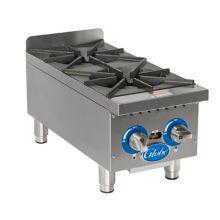 "Globe Food GHP12G Countertop S/S 2-Burner 12"" Gas Hot Plate"