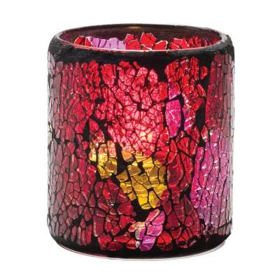 Hollowick 6301RG Red And Gold Crackle Glass Votive Lamp