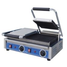 Globe Food GPGDUE10 Bistro 10 In Double Panini Grill w/ Grooved Plates