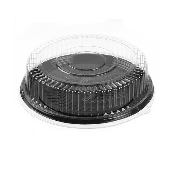 Par-Pak Round Black Catering Tray With Lid