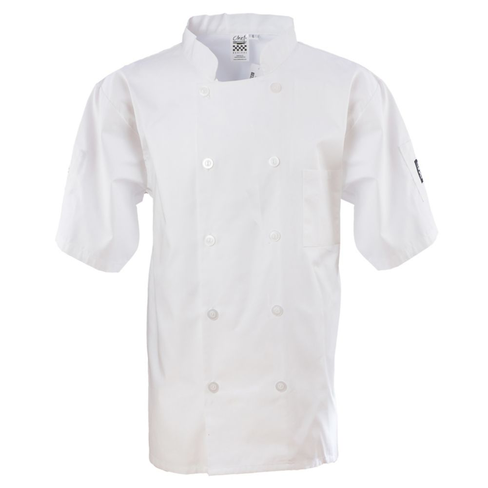 Chef Revival J105-L White Large Short Sleeve Basic Chef Jacket