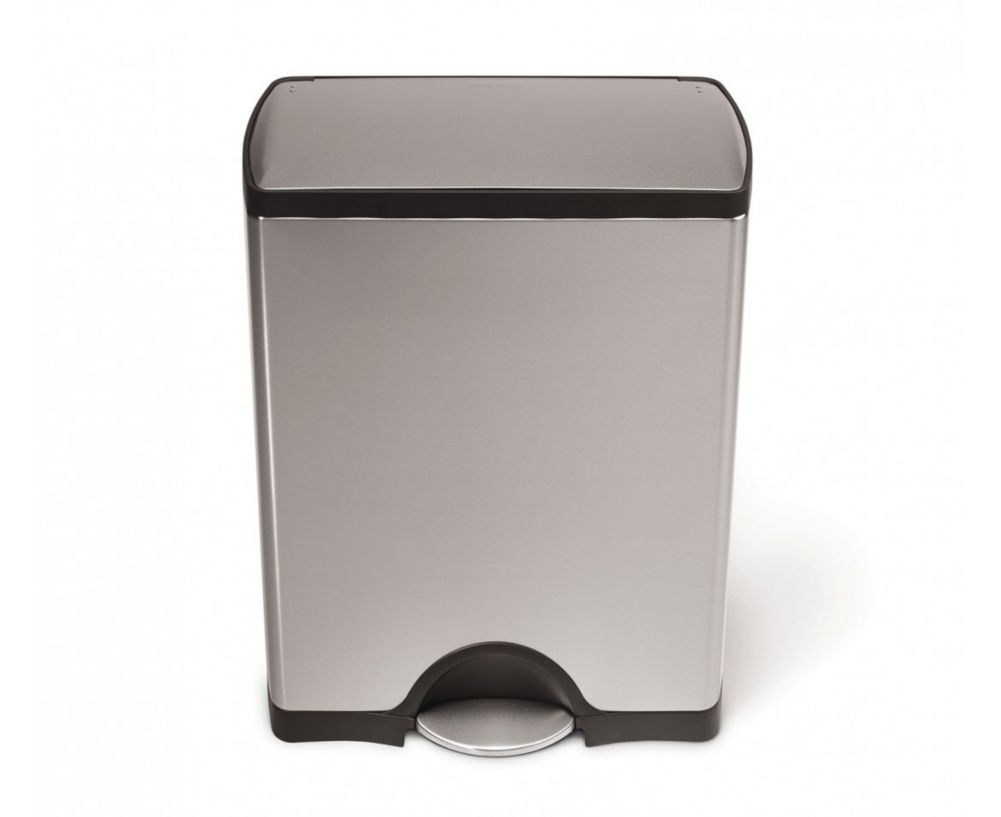 simplehuman CW1816 Brushed S/S Step-On 50 L / 13 Gal Trash Container