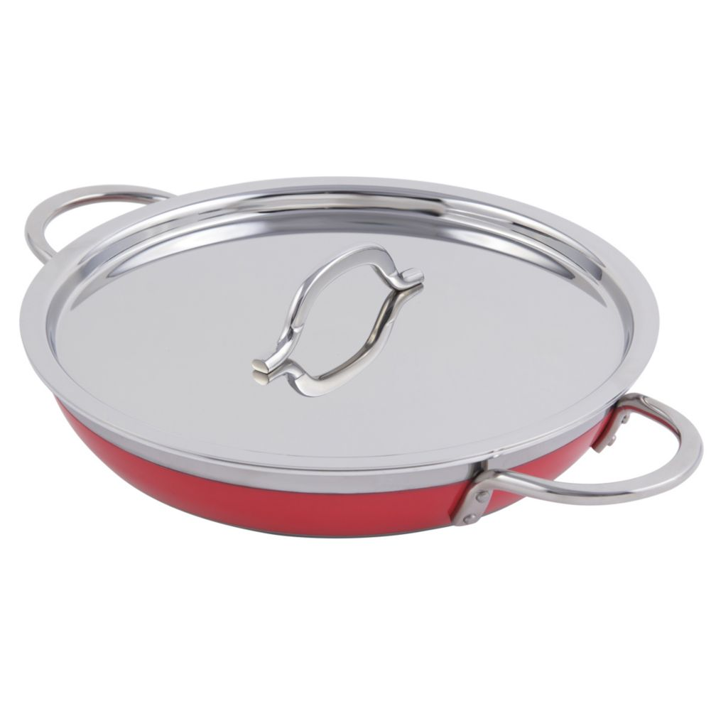 Bon Chef 60306RED Stainless 3 Qt. 4 Oz. Round Casserole Pan with Cover