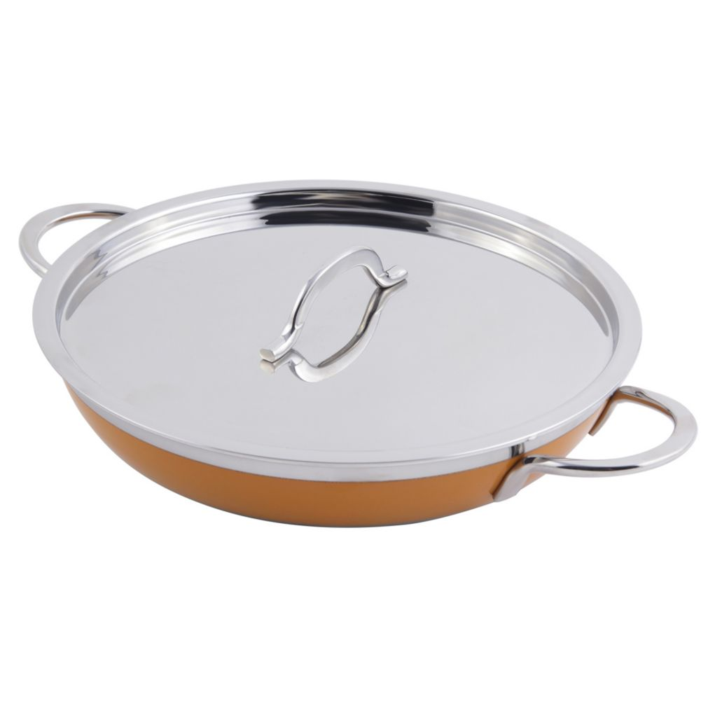 Bon Chef 60306YELLOW Stainless 3 Qt. 4 Oz. Casserole Pan with Cover