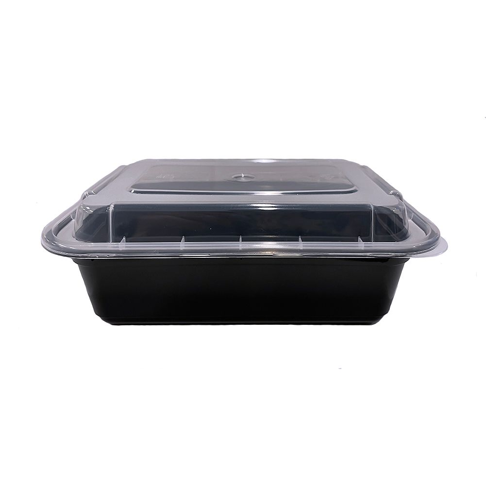 Darling Food Service Black 24 Oz. Rectangular Container - 150 / CS