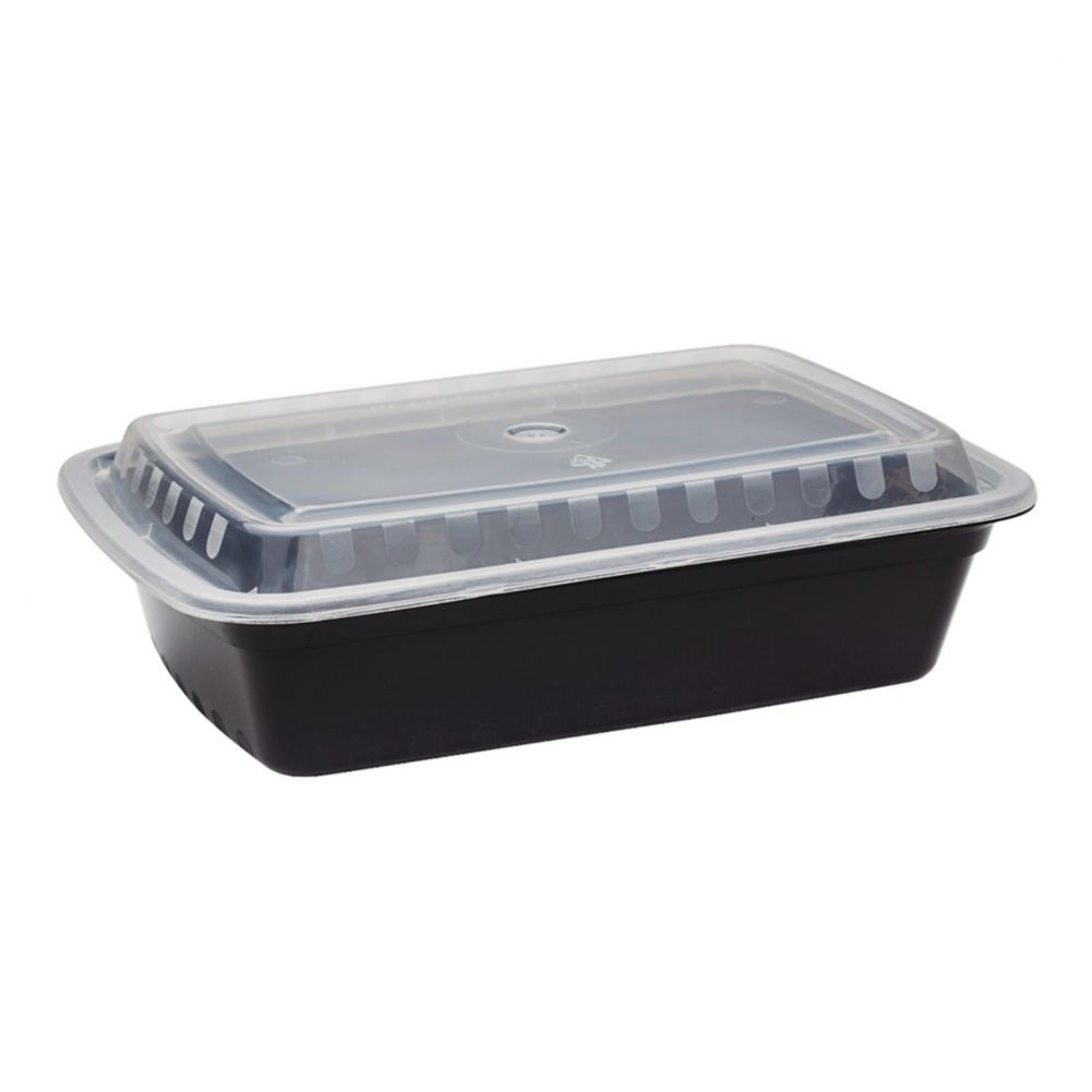 Darling Food Service Black 38 Oz. Rectangular Container - 150 / CS