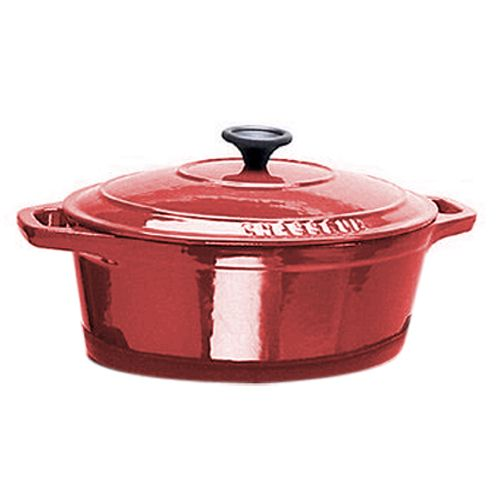 Paderno® A1737335 Chasseur 8 Qt. Red Oval Dutch Oven with Lid