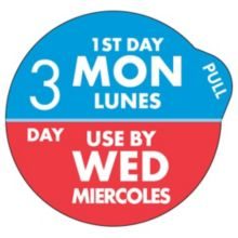 "DayDots 11704-31-21 SupeRemovable 1"" 3 Day Mon/Wed Label - 1000 / RL"