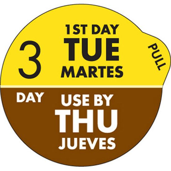 "DayDots 11704-32-21 SupeRemovable 1"" 3 Day Tue/Thurs Label - 1000 / RL"