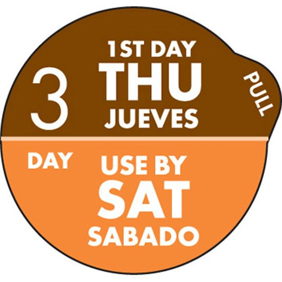 "DayDots 11704-34-21 SupeRemovable 1"" 3 Day Thurs/Sat Label - 1000 / RL"