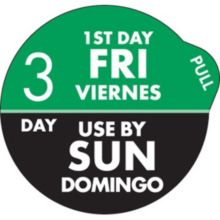 "DayDots 11704-35-21 SupeRemovable 1"" 3 Day Fri/Sun Label - 1000 / RL"