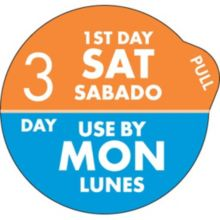 "DayDots 11704-36-21 SupeRemovable 1"" 3 Day Sat/Mon Label - 1000 / RL"