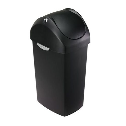 simplehuman CW1333 Black 60 Liter Swing Lid Trash Can