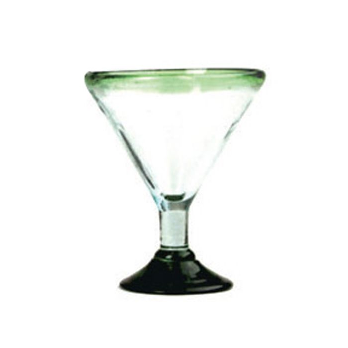 Aztecas Design 33/ML-GG 14 Oz. Green Rim Margarita Glass - 18 / CS