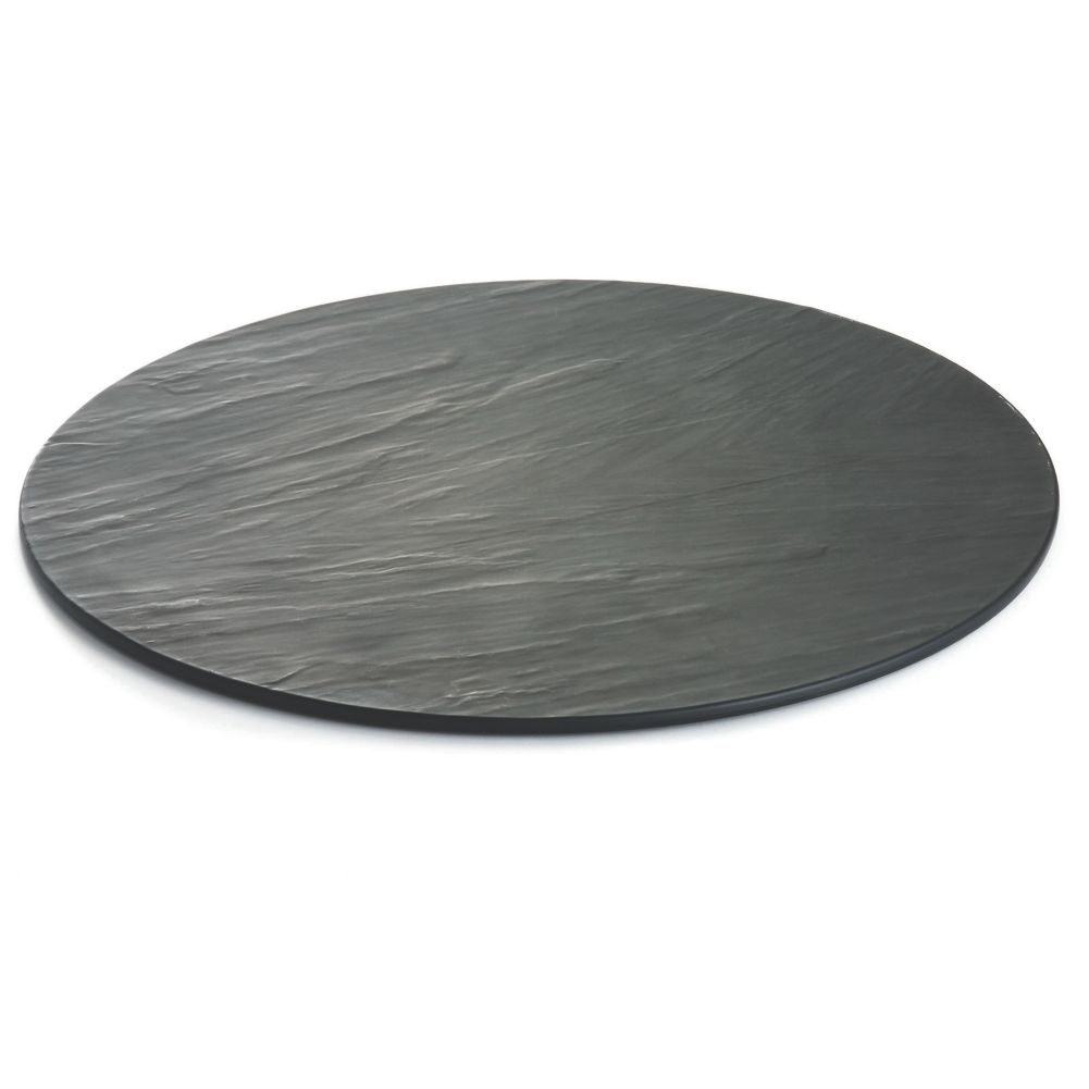 "TableCraft MG16 Frostone Slate 16"" Melamine Round Display Tray"