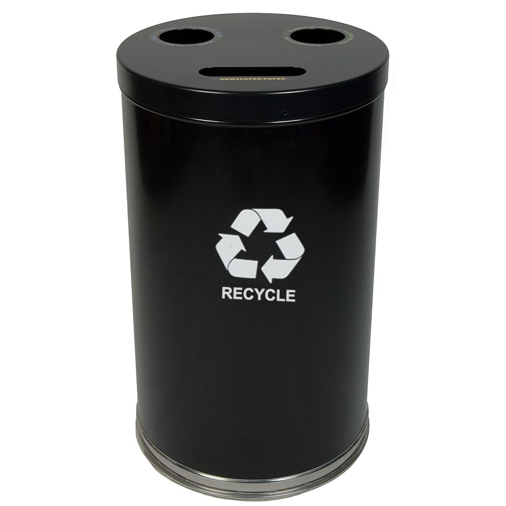Witt 18RTBK Emoti-Can 34.5 Gallon Black Recycling Container