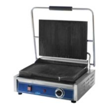 """Globe Food GPG1410 Mid Size 120v Electric 14 x 10"""" Panini Grill"""