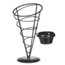 """TableCraft ACR59 Vertigo Collection Black 5"""" x 9""""  Cone With Ramekin"""