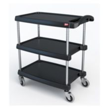 "Metro MY1627-34BL MyCart BC Series Black 16 x 27"" 3-Shelf Cart"