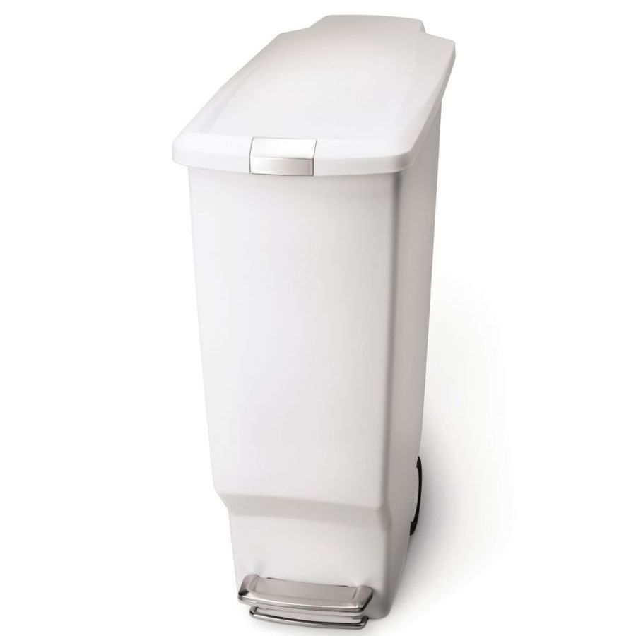 simplehuman CW1362 White Plastic Slim 40 Liter Step Trash Can