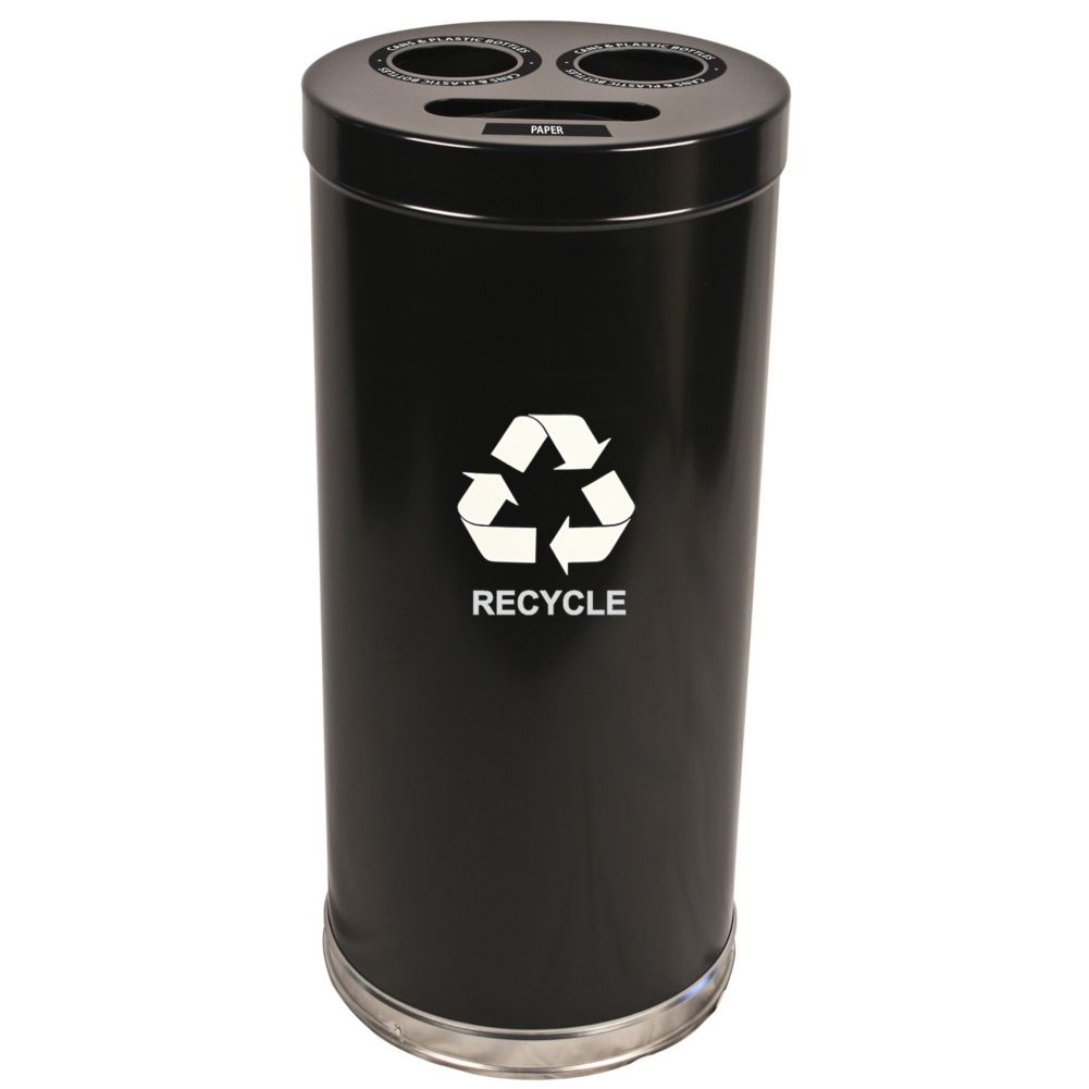 Witt 15RTBK Emoti-Can 24 Gallon Black Recycling Container