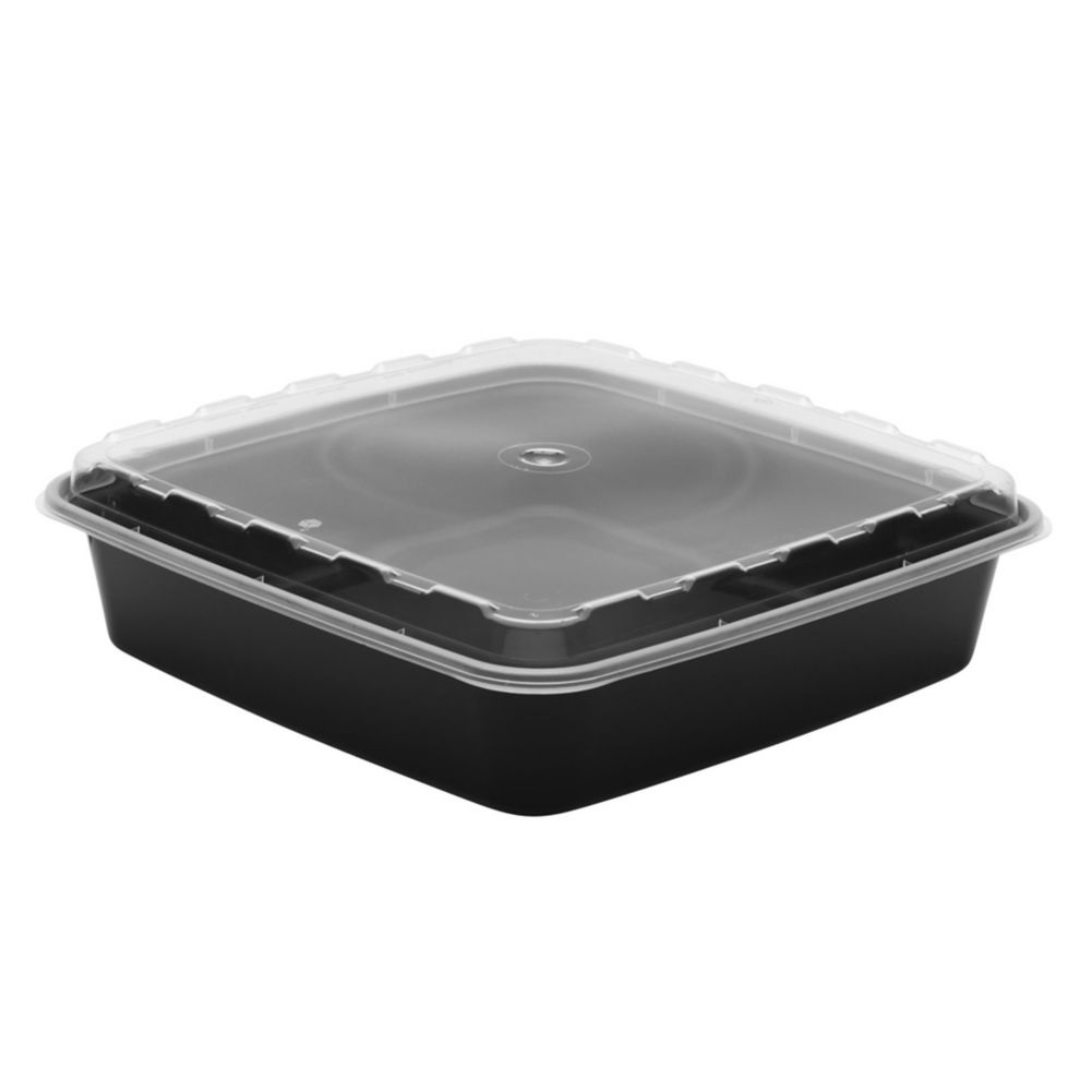 Cube Plastics CR-1047B Combo Pack Square 48 Oz. Container - 100 / CS