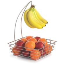 TableCraft® 12SR Meranda Chrome Square Fruit Basket w/ Banana Hook