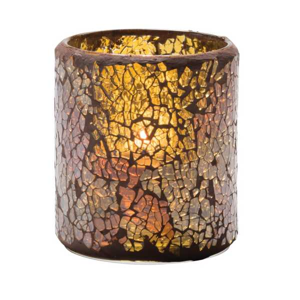 Hollowick® 6301G Crackle™ Gold Glass Votive Lamp