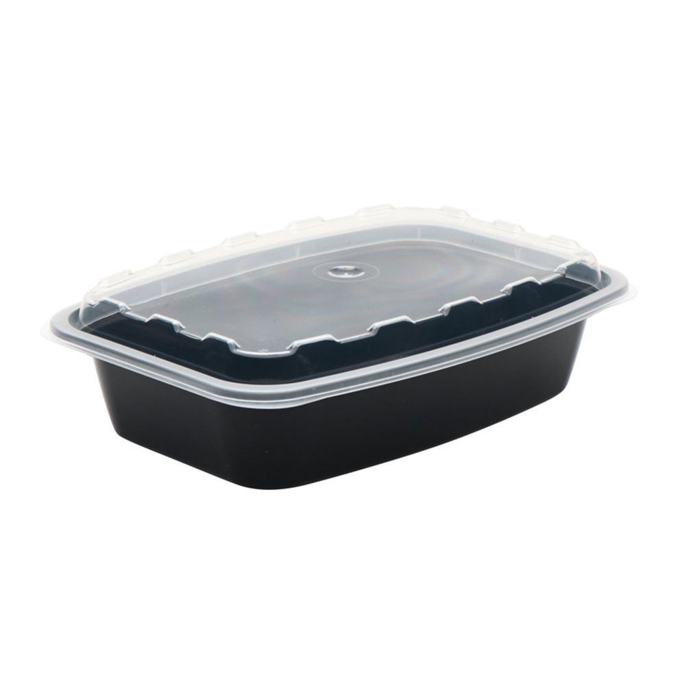 Cube Plastics CR-928B Black 28 Oz. Container with Clear Lid - 150 / CS