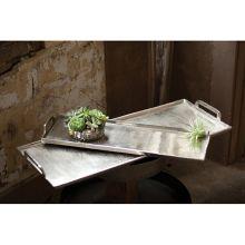"Kalalou NRS1037 Antique Silver 8.5"" x 24"" Platter / Tray"