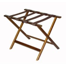 CSL 277DK-1 Walnut Wood Luggage Rack with Brown Straps