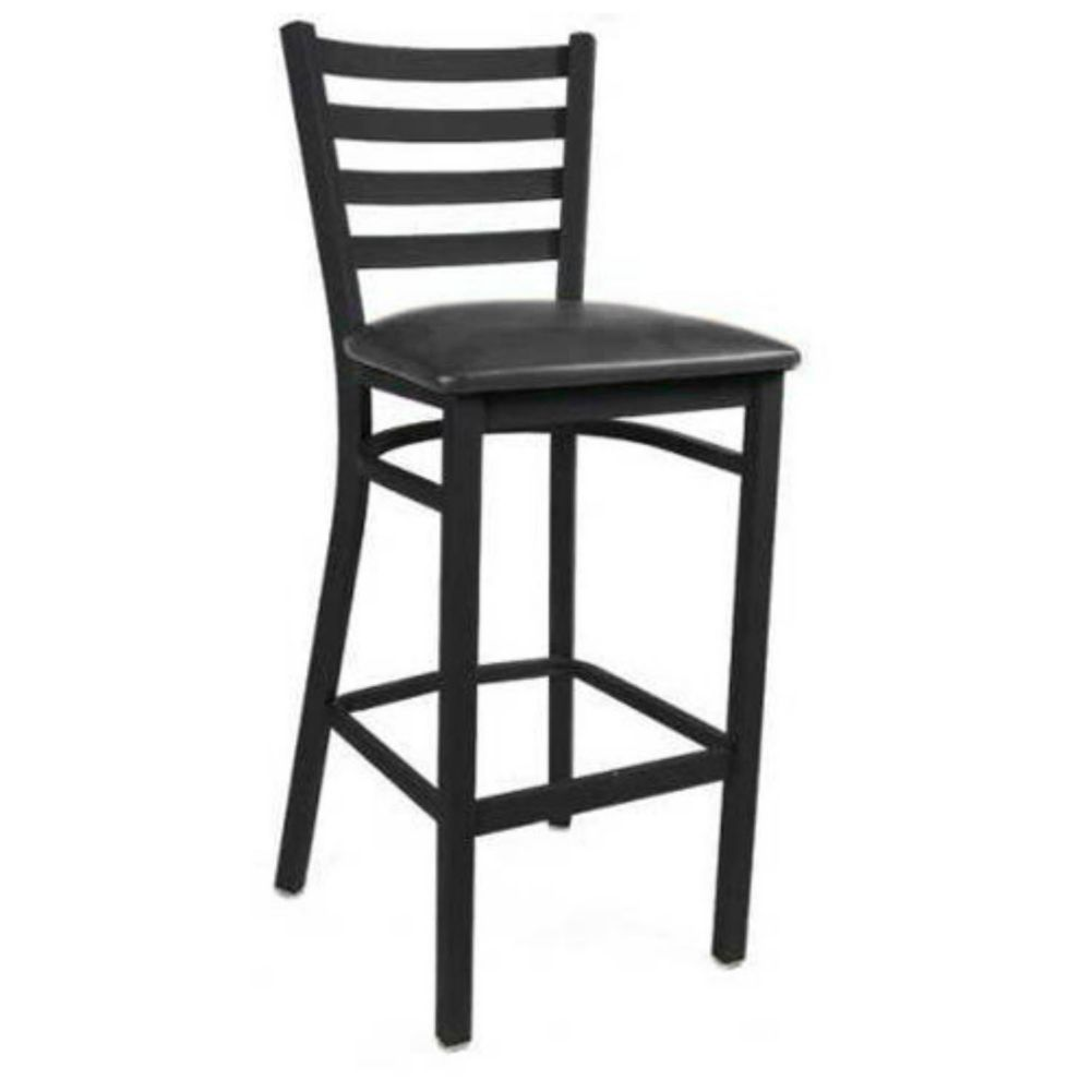 MKLD Commercial Furniture M841BS-BLACK Ladder Back Metal Bar Stool