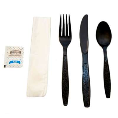 Heavy Weight Black 6 Pc. Cutlery Kit