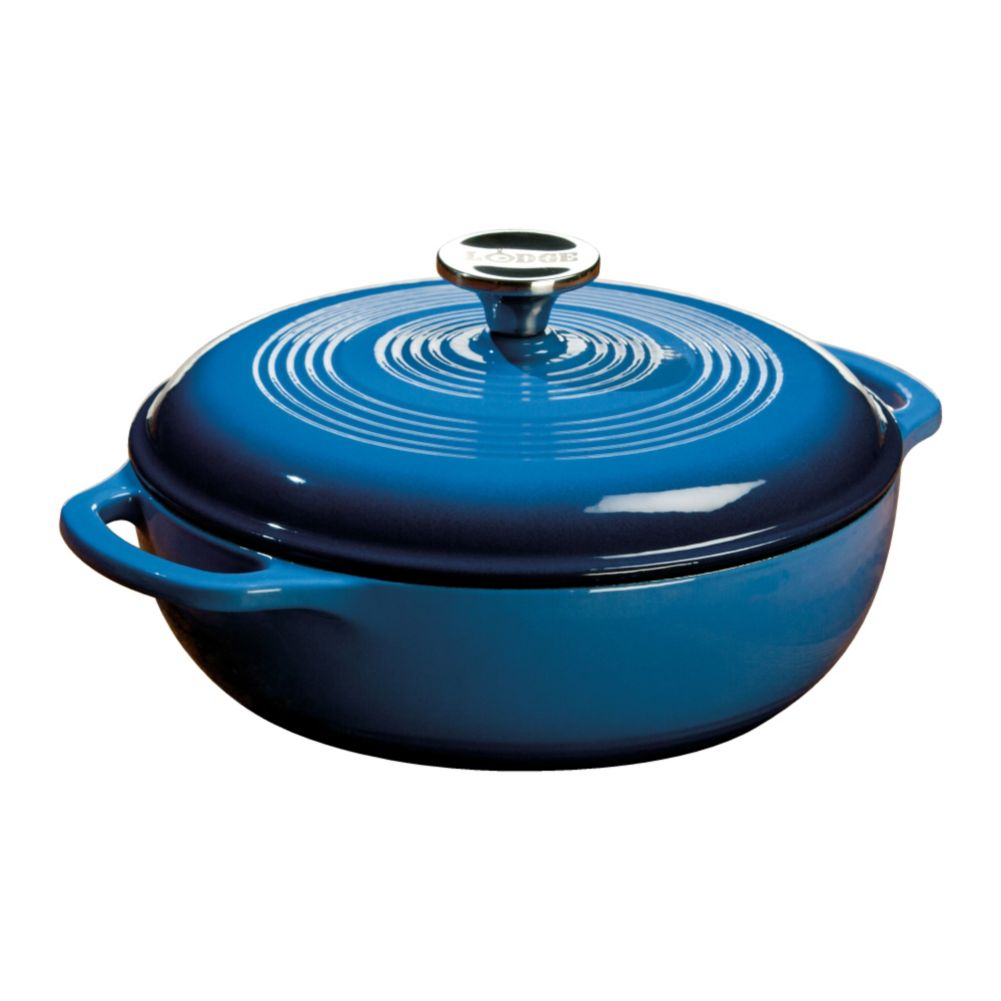 Lodge® EC3D33 Blue 3 Quart Cast Iron Dutch Oven with Lid