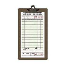 "Menu Solutions CLIPCHECK-HB Dk Brn Guest 5"" x 9"" Check Presenter-Dozen"