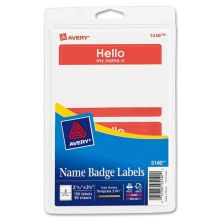 Avery Dennison AVE5140 Hello, My Name is Label Name Tag- 100 / PK
