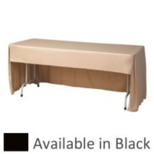 """Snap Drape FPFSWYN830CC-BLACK 8' x 30"""" Conference Cloth Table Cover"""