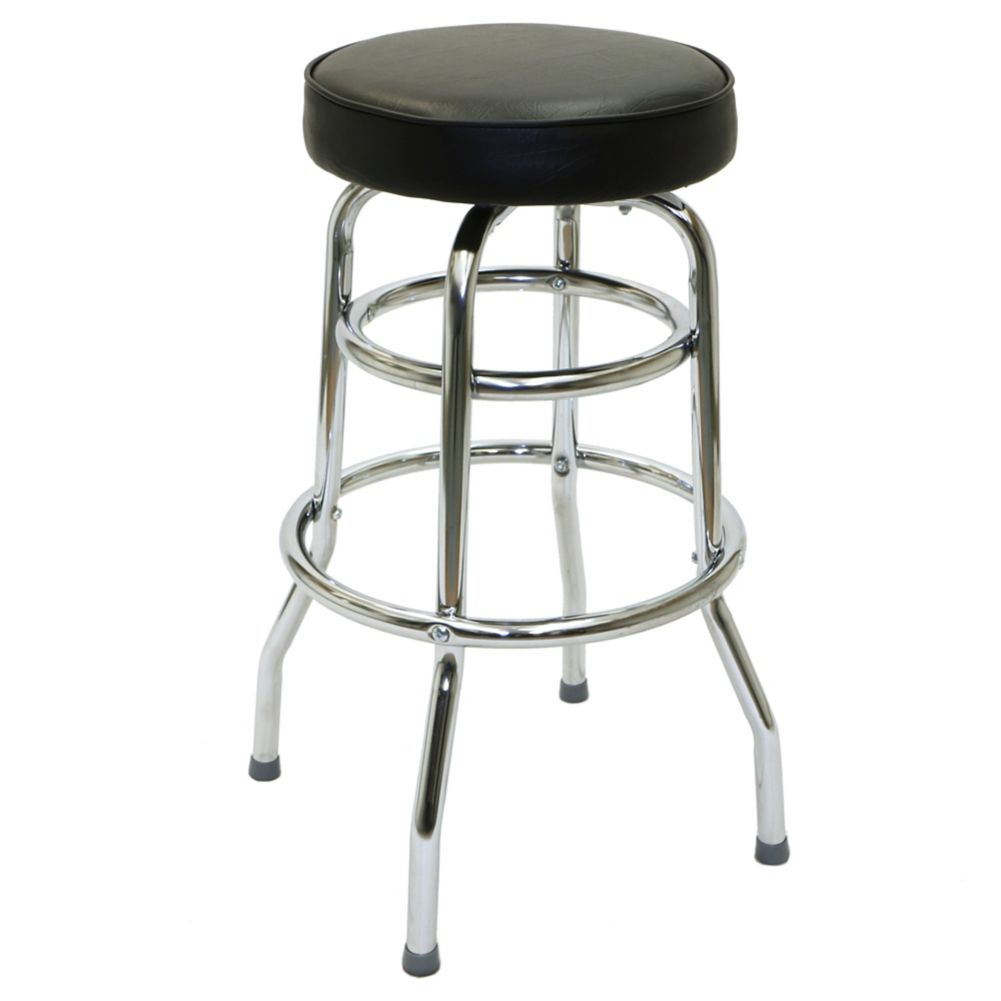 National Metalwares B1020 Black Double Foot Ring Bar Stool