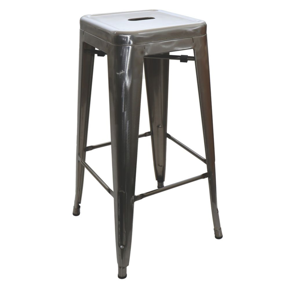"National Metalwares 201608 Silver 17"" x 30"" Backless Bar Stool"
