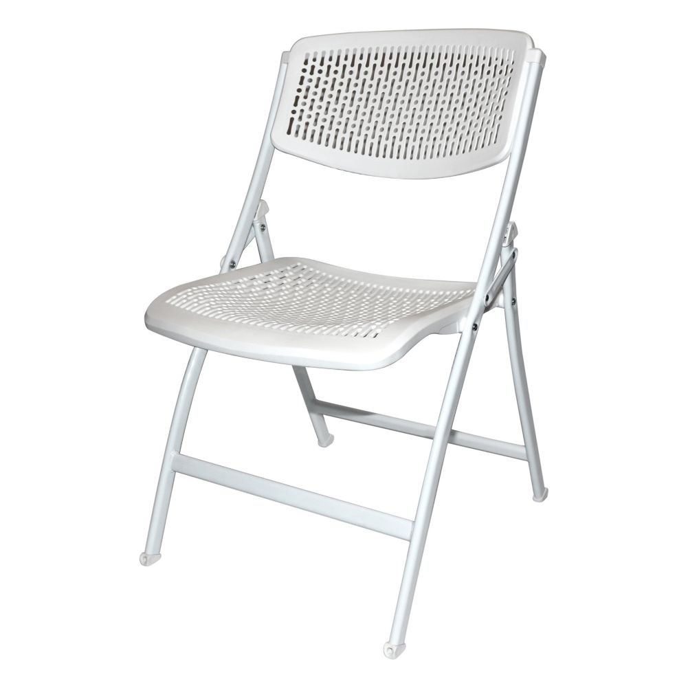 "National Metalwares 201613 White 18"" Folding Chair"