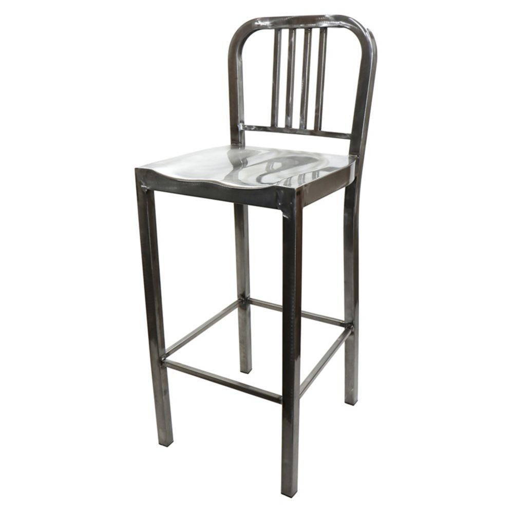 "National Metalwares 201612 Silver 16"" Metal Diner Bar Stool"