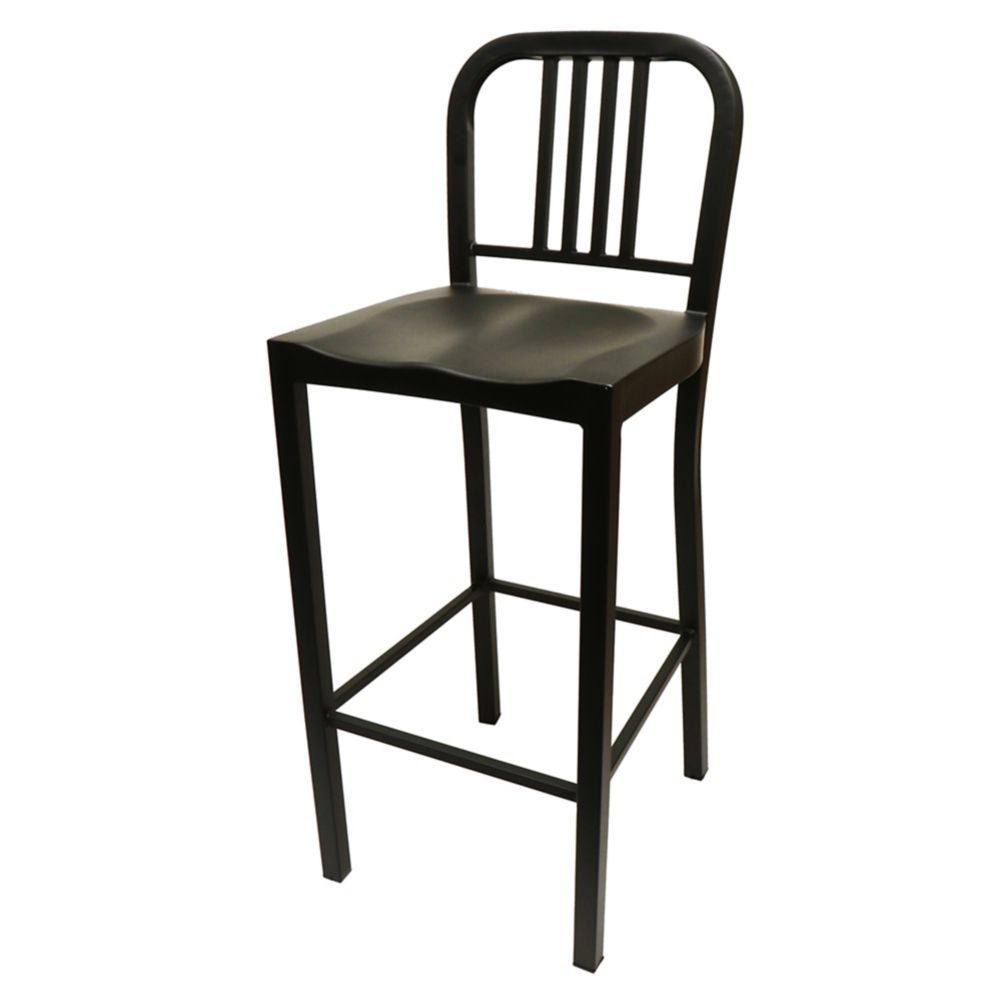 "National Metalwares 201611 Black 16"" Metal Diner Bar Stool"