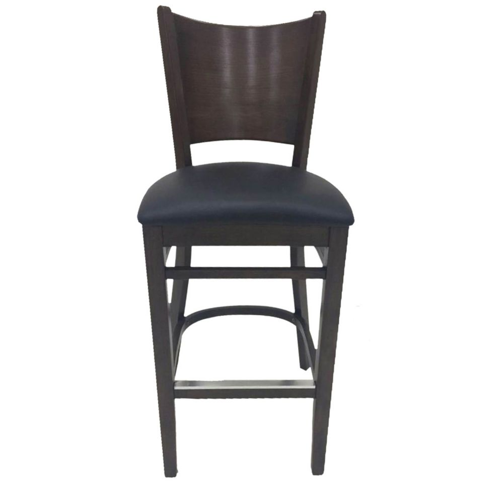 MKLD Commercial Furniture 6236BS-W Wood Frame Bar Stool w/ Black Seat