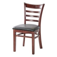 MKLD Commercial Furniture 6241W Wood Ladder Back Chair with Black Seat