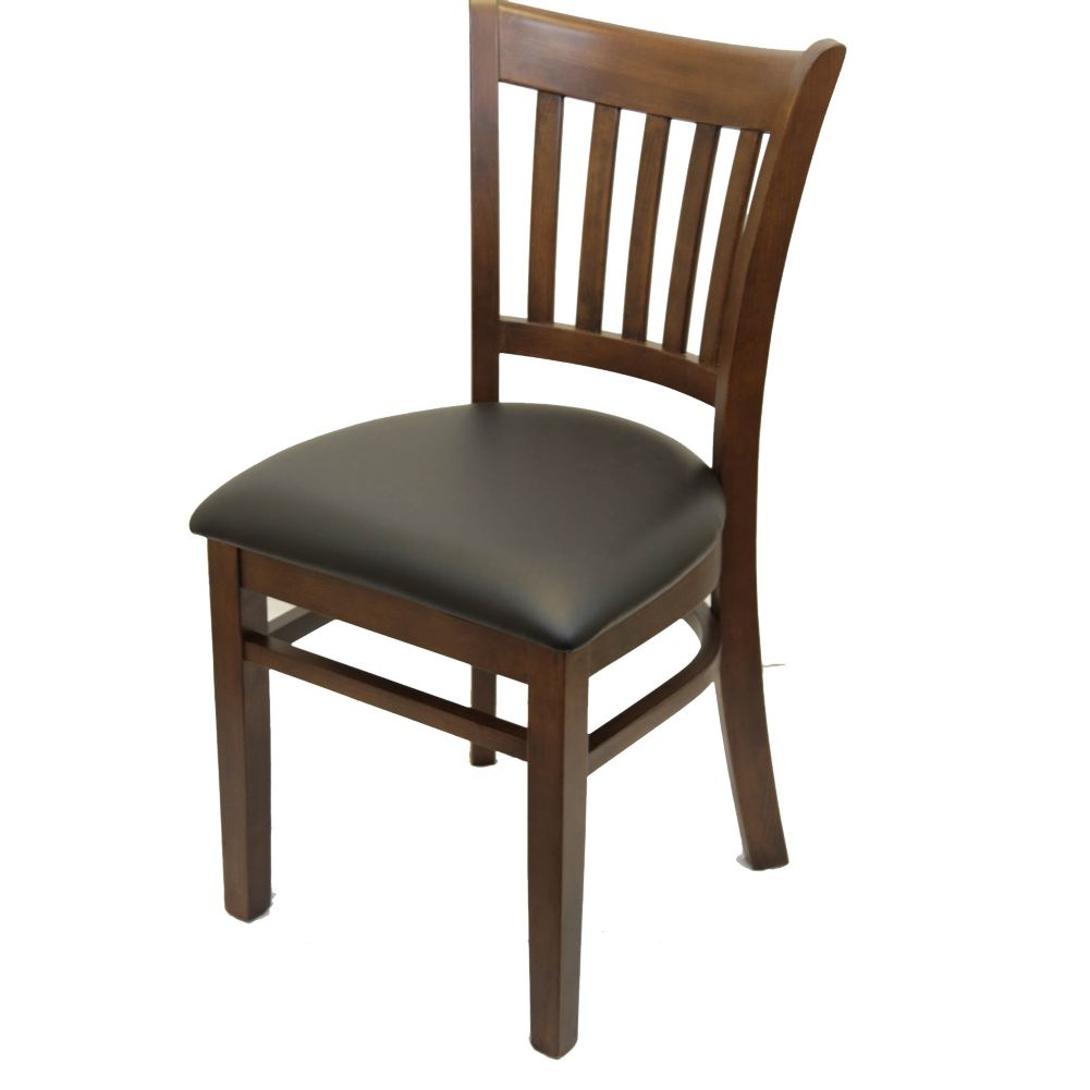 MKLD Commercial Furniture 6242W Wood Vertical Back Chair w/ Black Seat