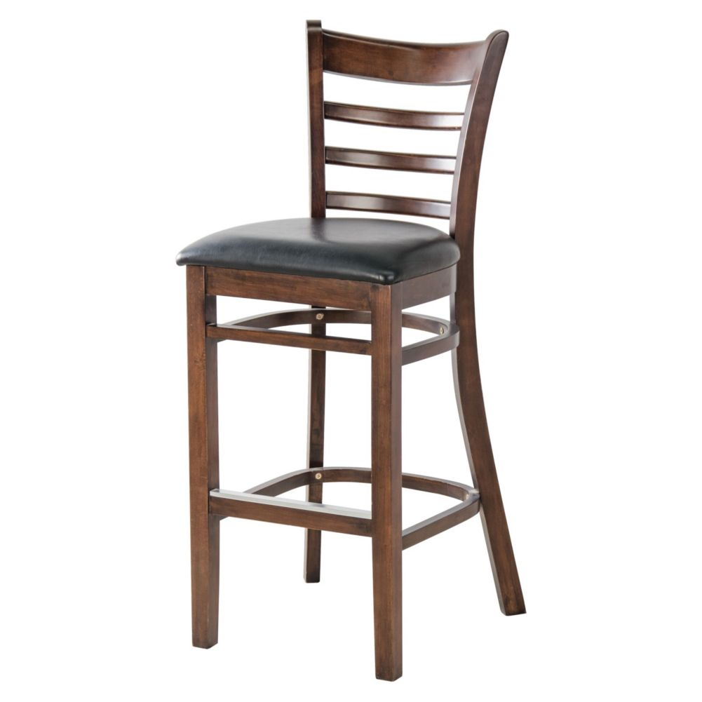 MKLD Commercial Furniture 6241BS-W Ladder Back Bar Stool w/ Black Seat